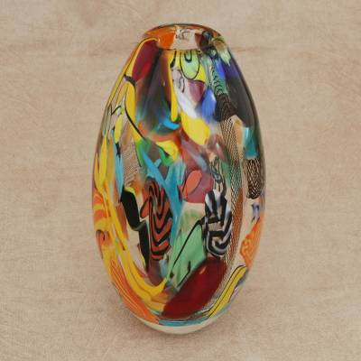 Art glass vase, 'Colorful Fantasy' - Colorful Art Glass Vase from Brazil