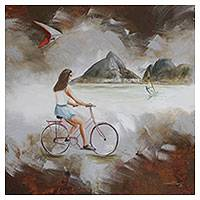 'Bike in Rio' - Signed Surrealist Painting of a Girl on a Bike from Brazil
