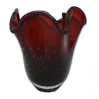 Red Art Glass Vase From Brazil 11 Inch Red Splash Novica