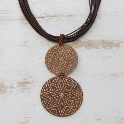 Wood pendant necklace, Intricate Stars