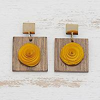 Gold accent wood dangle earrings, 'Sweet Yellow Rose' - Handcrafted Gold Accent Yellow Rose Earrings from Brazil