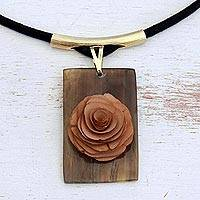 Wood and horn pendant necklace, 'Dusk Rose' - Brown Wood and Horn Flower Pendant Necklace from Brazil