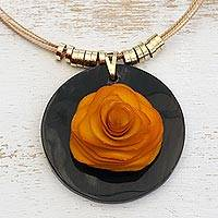 Wood and horn pendant necklace, 'Sunset Rose' - Orange Wood and Horn Flower Pendant Necklace from Brazil