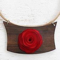 Gold accent wood pendant necklace, 'Red Rose Medallion' - Handcrafted Brazilian Red Rose Theme Women's Necklace
