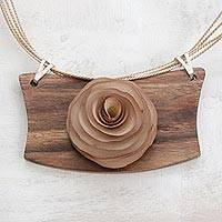 Wood pendant necklace, 'Beige Rose Medallion' - Brazilian Hand Carved Wood Rose Necklace in Beige