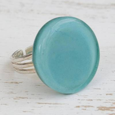 Fused glass cocktail ring, 'Tranquil Sky' - Handcrafted Celadon Green Fused Glass Disc Cocktail Ring