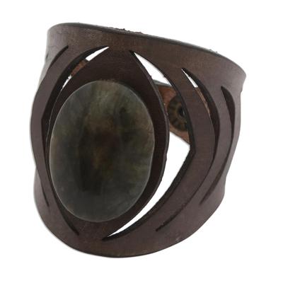 Brazilian Labradorite and Brown Leather Wristband Bracelet