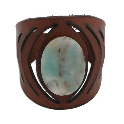 Brazilian Amazonite and Brown Leather Wristband Bracelet