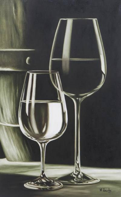 'Glasses' - Black and White Painting of Two Wine Glasses from Brazil