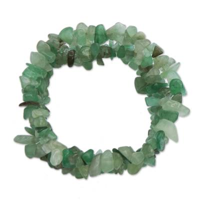 Green Quartz Beaded Stretch Bracelets from Brazil (Set of 3)
