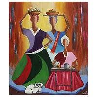 'Bahians and Cat' - Expressionist Painting of Three Women and a Cat from Brazil