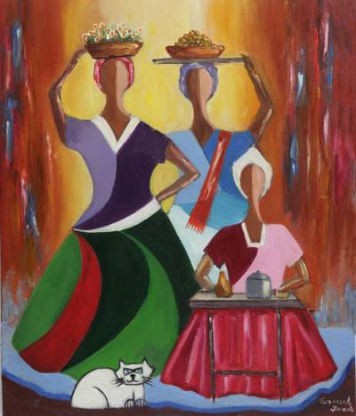 Expressionist Painting of Three Women and a Cat from Brazil