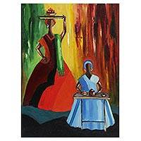 'Bahian Women' - Expressionist Painting of Bahian Women from Brazil