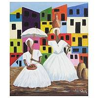 'Bahians in White Clothes' - Signed Expressionist Painting of Two Women in White Clothes