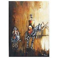 'Don Quixote and Windmill' - Don Quixote-Themed Expressionist Painting from Brazil