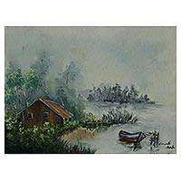 'Lagoon and Fog' - Impressionist Painting of a Foggy Lagoon from Brazil