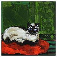 'Kiki Cat' - Signed Impressionist Painting of a Cat from Brazil