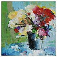'Vase of Flowers II' - Colorful Floral Still Life Painting by a Brazilian Artist