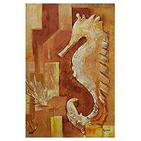 'Seahorse' - Signed Expressionist Painting of a Seahorse from Brazil