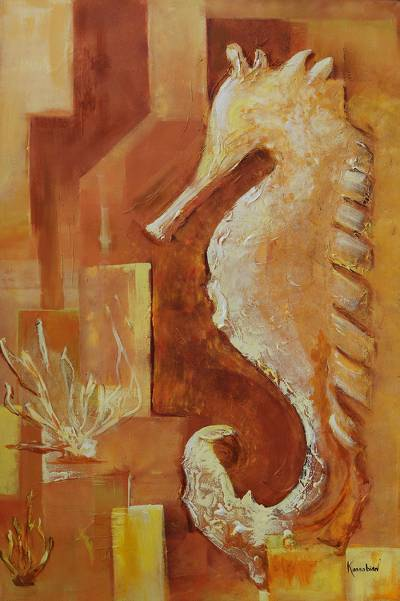 Signed Expressionist Painting of a Seahorse from Brazil
