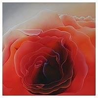 'Essential Amazement III' - Signed Close-Up Painting of a Red Rose from Brazil
