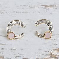 Gold plated rose quartz drop earrings, 'Magnificent Horseshoes' - Gold Plated Curved Rose Quartz and Rhodium Drop Earrings