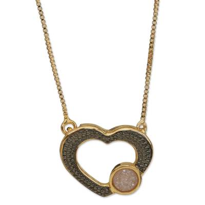 Heart-Shaped Gold Accented Agate Quartz Pendant Necklace