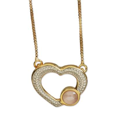 Heart-Shaped Gold Accented Rose Quartz Pendant Necklace
