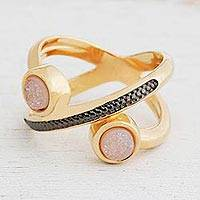 Gold plated drusy agate band ring, 'Cosmic Rings' - Gold Plated Drusy Agate Band Ring from Brazil