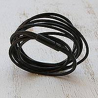 Leather cord bracelet, 'Dark Rivers' - Black Leather Cord Bracelet from Brazil