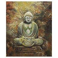 'Meditation' - Signed Expressionist Buddha Painting from Brazil
