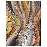 'Mystic Goddesses' - Expressionist Painting of Three Goddesses from Brazil