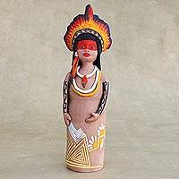 Ceramic figurine, 'Terena Woman with a Crown' - Handcrafted Ceramic Terena Woman from the Brazilian Amazon