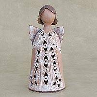 Ceramic figurine, 'Angel in a Lace Gown' - Brazilian Handcrafted Ceramic Angel Figurine