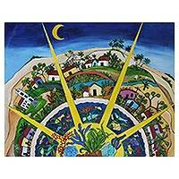'Mandala' - Signed Mandala-Inspired Landscape Painting from Brazil