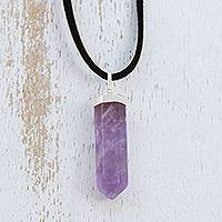 Amethyst pendant necklace, 'Powerful Essence in Purple' - Amethyst Obelisk on Adjustable Black Cord Pendant Necklace