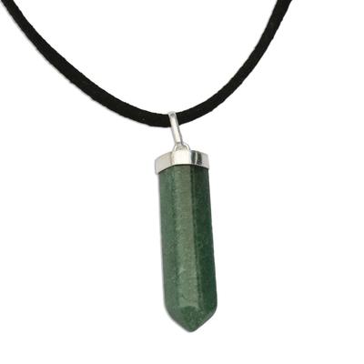 Green Quartz Obelisk on Adjustable Cord Pendant Necklace