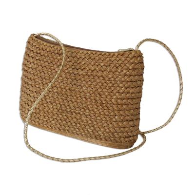 Handcrafted Braided Golden Grass Shoulder Bag from Brazil