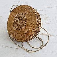 Golden grass shoulder bag, 'Sun Spun' - Handcrafted Circular Golden Grass Shoulder Bag from Brazil