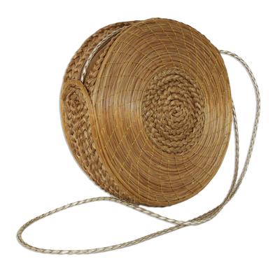 Handcrafted Circular Golden Grass Shoulder Bag from Brazil