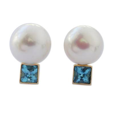 18k Gold Cultured Mabe Pearl and Aquamarine Drop Earrings
