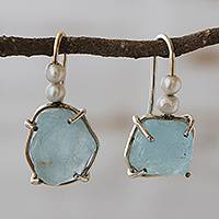 Aquamarine and cultured pearl drop earrings, 'Celestial Visions' - Artisan Crafted Aquamarine and Cultured Pearl Earrings