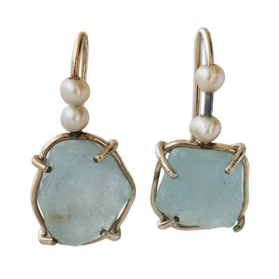 Artisan Crafted Aquamarine and Cultured Pearl Earrings