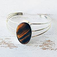 Tiger's eye cuff bracelet, 'Honeyed Warmth' - Brazilian Tiger's Eye and Silver Artisan Crafted Bracelet
