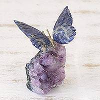 Sodalite and amethyst sculpture, 'Blue Morpho Butterfly' - Petite Sodalite and Amethyst Morpho Butterfly Sculpture