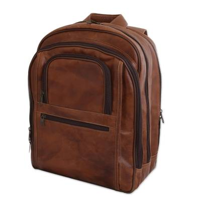 Brown Leather Backpack with Laptop Compartments