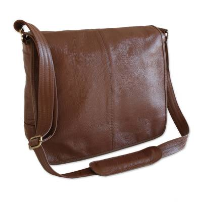 Hand Crafted Brown Leather Messenger Bag