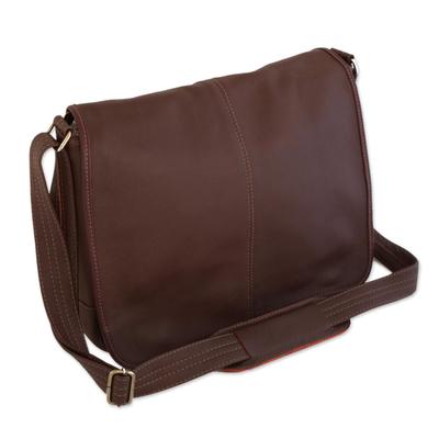 Unisex Maroon Leather Messenger Bag from Brazil