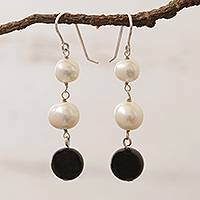 Cultured pearl and onyx dangle earrings, 'Midnight in the Clouds' - White Cultured Pearl and Black Onyx Earrings from Brazil
