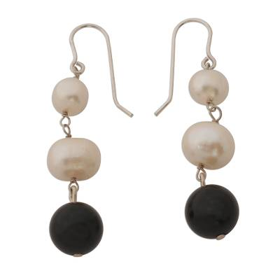 White Cultured Pearl and Black Onyx Earrings from Brazil